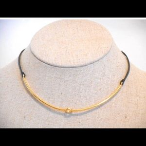 Gold leather choker collar~ Mia by S&D